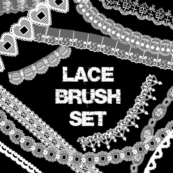 フォトショップ ブラシ Photoshop Lace Brush 無料 イラスト レース Lace Brush Set