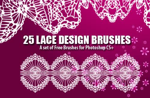 フォトショップ ブラシ Photoshop Lace Brush 無料 イラスト レース lace 25 Dainty Lace Design Photoshop Brushes