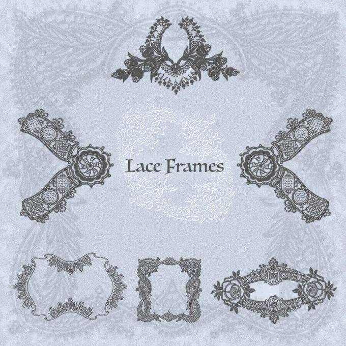フォトショップ ブラシ Photoshop Lace Brush 無料 イラスト レース Lace Frames Brushes