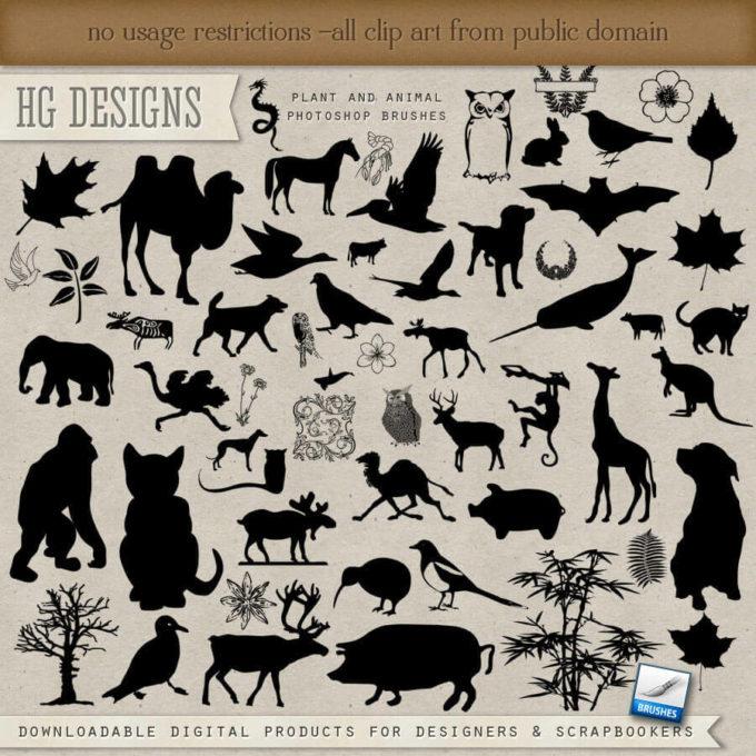 フォトショップ ブラシ Photoshop Animal Brush 無料 イラスト 動物 アニマル Plants and Animals Collection