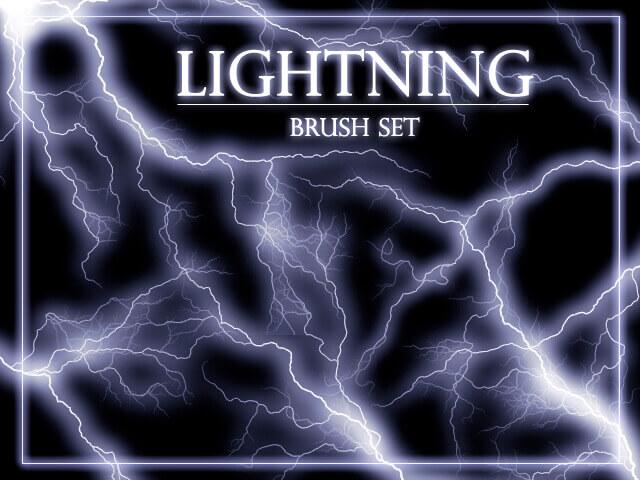 フォトショップ ブラシ Photoshop Brush 無料 Flower イラスト 雷 ライトニング 落雷 Lightning brush set