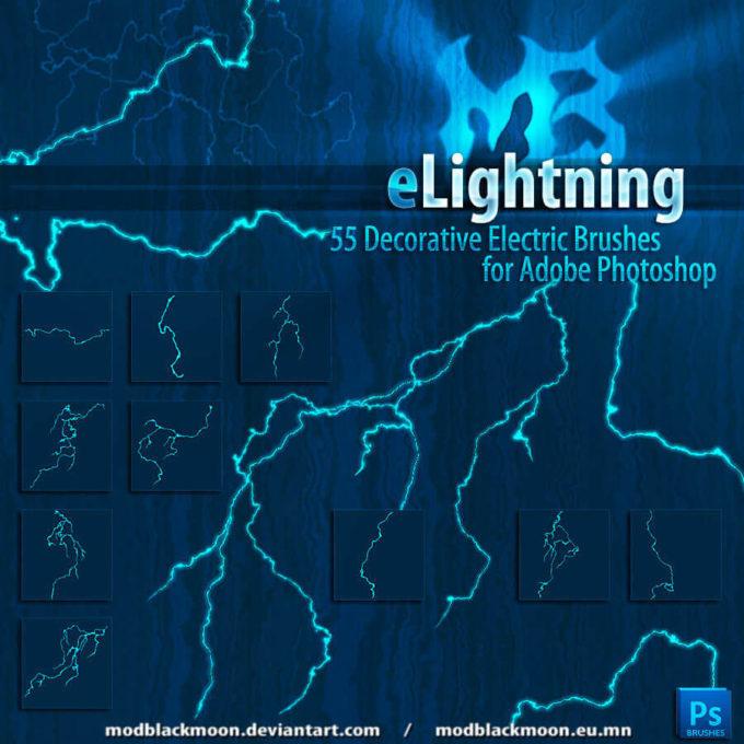 フォトショップ ブラシ Photoshop Brush 無料 Flower イラスト 雷 ライトニング 落雷 MB-ELightning