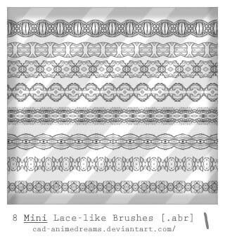 フォトショップ ブラシ Photoshop Lace Brush 無料 イラスト レース Mini Lace brushes