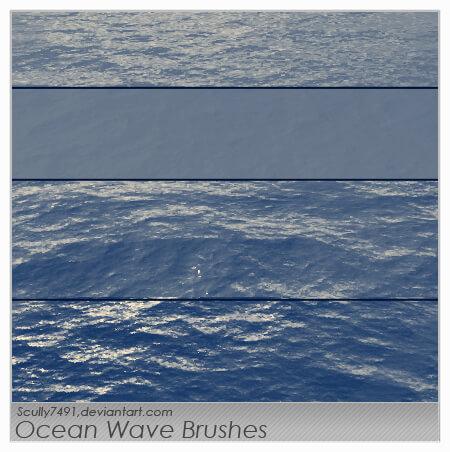 フォトショップ ブラシ Photoshop Brush 無料 イラスト 水 ウォーター 海 波 Ocean Wave Brushes