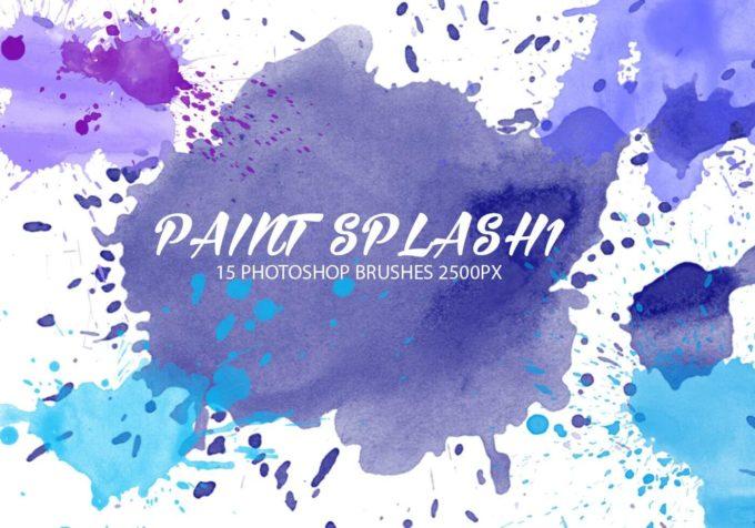 フォトショップ ブラシ Photoshop Brush 無料 イラスト 水彩 インク ペンキ 絵具 Paint Splash Brushes 1