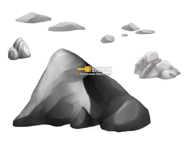 フォトショップ ブラシ Photoshop Brush 無料 イラスト ロック 岩 石 ストーン Painted rocks