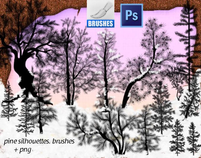 フォトショップ ブラシ Photoshop Brush 無料 イラスト 木 森 林  草木 Pine Silhouettes Brushes