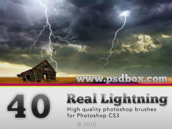 フォトショップ ブラシ Photoshop Brush 無料 Flower イラスト 雷 ライトニング 落雷 Real Lightning