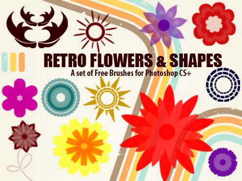 フォトショップ ブラシ Photoshop Retro Vintage Brush 無料 イラスト ヴィンテージ レトロ18 Free Retro Flowers and Shapes Brushes