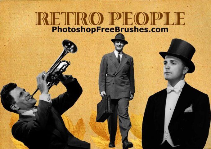 フォトショップ ブラシ Photoshop Retro Vintage Brush 無料 イラスト ヴィンテージ レトロ 20 Retro People (Men) Photoshop Brushes