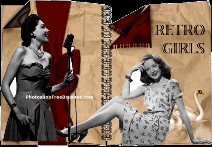 フォトショップ ブラシ Photoshop Retro Vintage Brush 無料 イラスト ヴィンテージ レトロ 23 Retro People (Women) Photoshop Brushes