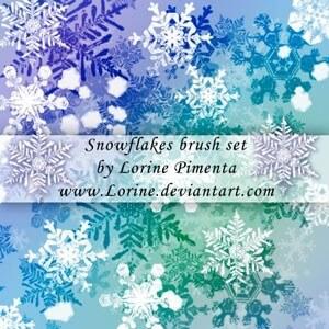 フォトショップ ブラシ Photoshop Brush 無料 イラスト クリスマス 聖夜 雪 結晶 Snow Flakes Brush Set