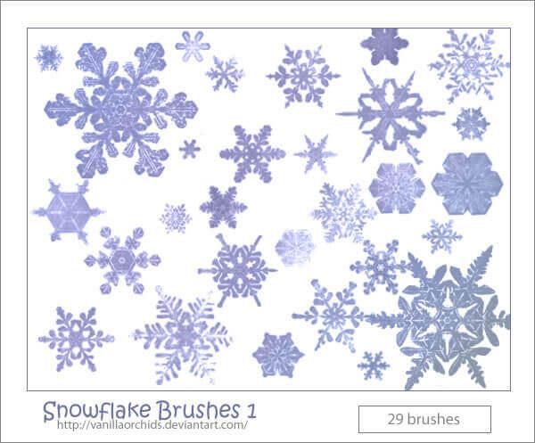 フォトショップ ブラシ Photoshop Brush 無料 イラスト クリスマス 聖夜 冬 雪 スノーフレーク 結晶 Snowflake Brushes 1