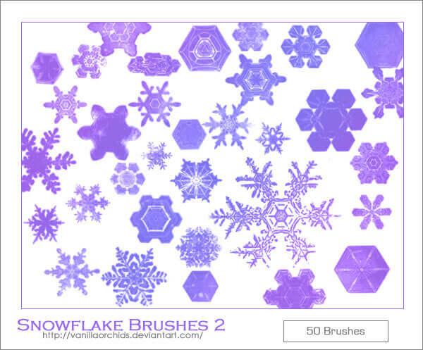 フォトショップ ブラシ Photoshop Brush 無料 イラスト クリスマス 聖夜 冬 雪 スノーフレーク 結晶 Snowflake Brushes 2