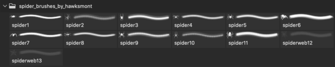 フォトショップ ブラシ Photoshop Brush 無料 クモ クモの巣 蜘蛛 スパイダー Spiders Brushes