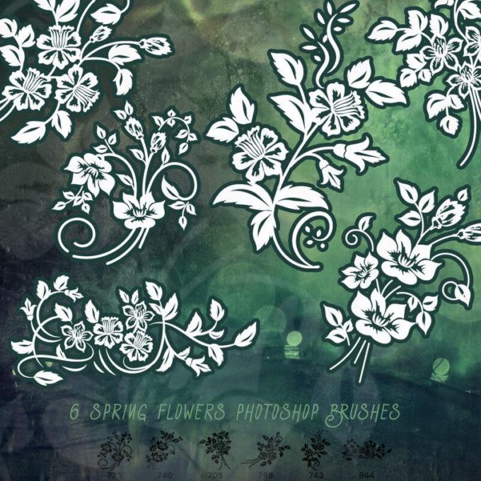 フォトショップ ブラシ Photoshop Brush 無料 Flower イラスト 花 フラワー 6 Free Spring Flower Ornaments