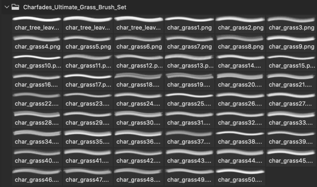 フォトショップ ブラシ Photoshop Brush 無料 植物 草 雑草 イラスト The Ultimate Grass Brush Set