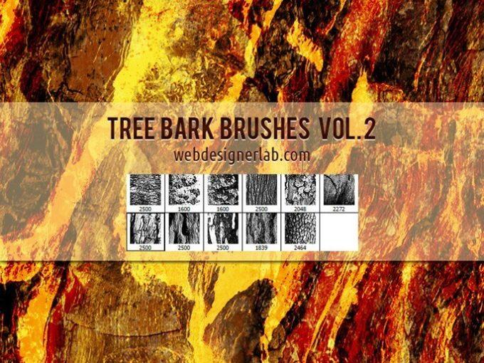 フォトショップ ブラシ Photoshop Brush 無料 イラスト 木 ウッド 木目 Tree Bark Brushes Vol. 2