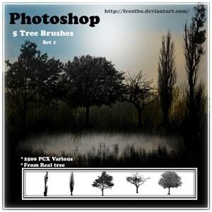 フォトショップ ブラシ Photoshop Brush 無料 イラスト 木 森 林 草木 Tree Brush Set