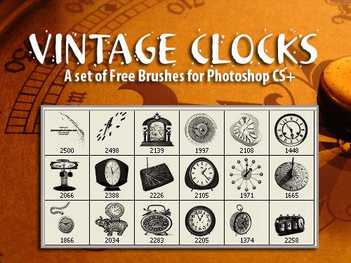 フォトショップ ブラシ Photoshop Retro Vintage Brush 無料 イラスト ヴィンテージ レトロ 時計 18 High-Res Vintage Clocks Photoshop Brushes