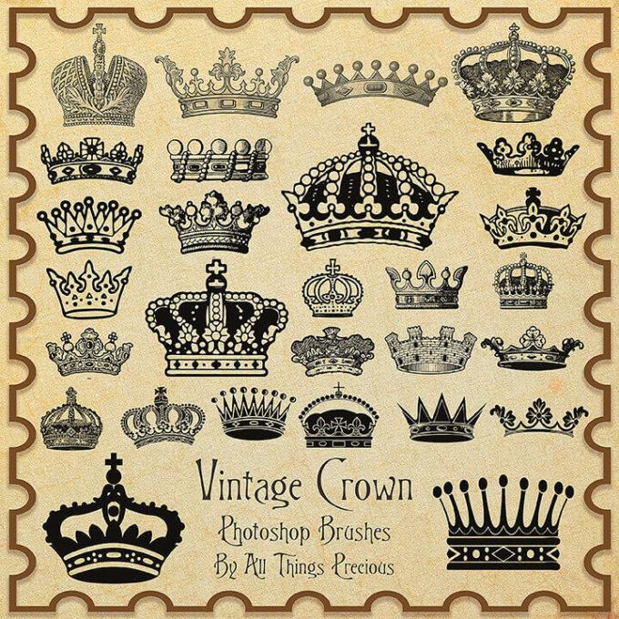 フォトショップ ブラシ Photoshop Crown Brush 無料 イラスト クラウン 冠 王冠 Vintage Crown Brushes
