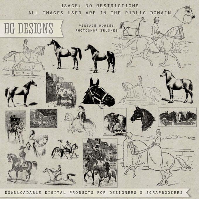 フォトショップ ブラシ Photoshop Animal Brush 無料 イラスト 動物 アニマル 馬 Vintage Horse Collection