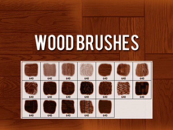 フォトショップ ブラシ Photoshop Brush 無料 イラスト 木 ウッド 木目 Wood Brushes