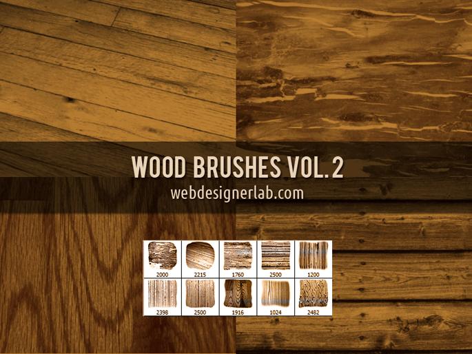 フォトショップ ブラシ Photoshop Brush 無料 イラスト 木 ウッド 木目 Wood Brushes Vol. 2