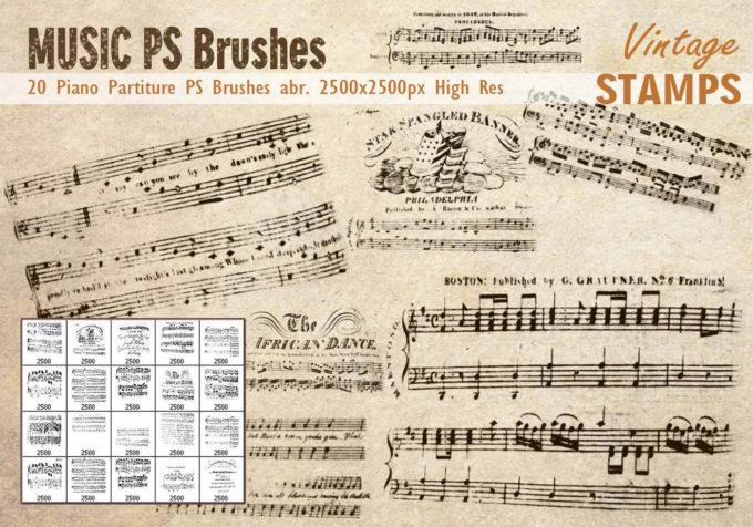 フォトショップ ブラシ Photoshop Vintage  Retro Brush 無料 イラスト ビンテージ レトロ 譜面 Piano Partiture PS Brushes