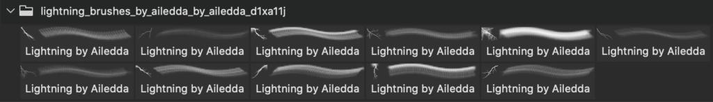 フォトショップ ブラシ Photoshop Brush 無料 Flower イラスト 雷 ライトニング 落雷 Lightning Brushes by Ailedda