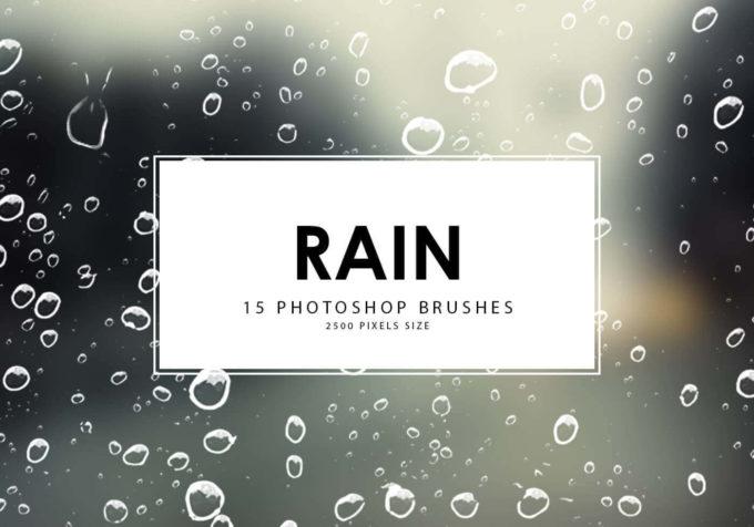フォトショップ ブラシ Photoshop Brush 無料 イラスト RAIN レイン 雨  20 Rain Photoshop Brushes