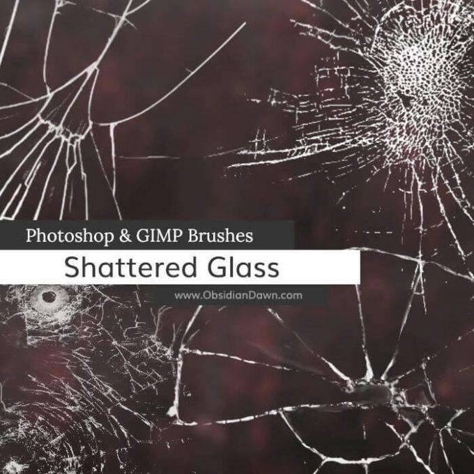 フォトショップ ブラシ Photoshop Brush 無料 イラスト クラック ひび割れ ヒビ 亀裂 壁 Shattered Glass Photoshop and GIMP Brushes