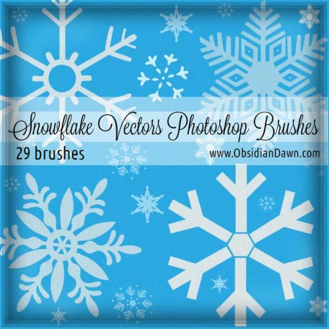 フォトショップ ブラシ Photoshop Brush 無料 イラスト クリスマス 聖夜 冬 雪 結晶 スノーフレーク Snowflake Vectors Photoshop Brushes