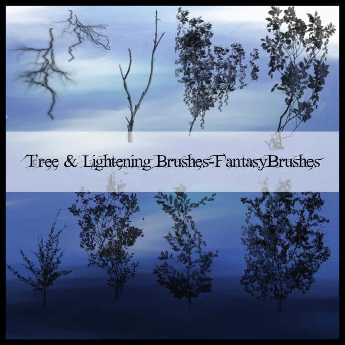フォトショップ ブラシ Photoshop Brush 無料 植物 木 林 森 枝 イラスト Tree and Lightening Brushes