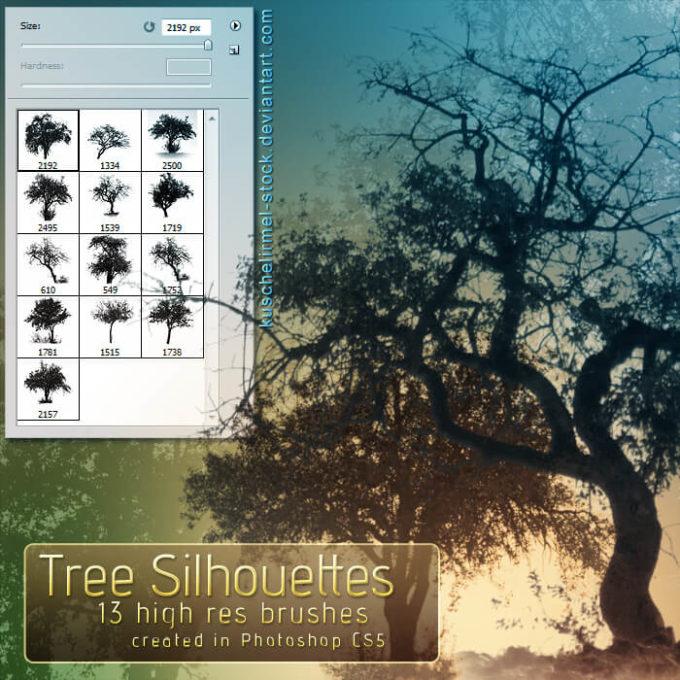 フォトショップ ブラシ Photoshop Brush 無料 植物 草 雑草 イラスト Tree Silhouette Brushes