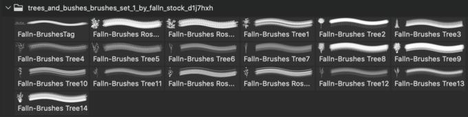 フォトショップ ブラシ 無料 草 植物 Trees Brushes Set 1