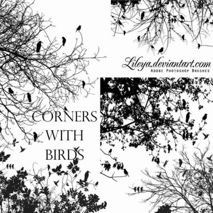 フォトショップ ブラシ Photoshop Brush 無料 イラスト 木 森 林 草木 Trees with Birds PS Brushes