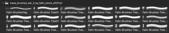フォトショップ ブラシ 無料 草 植物 Trees Brushes Set 2