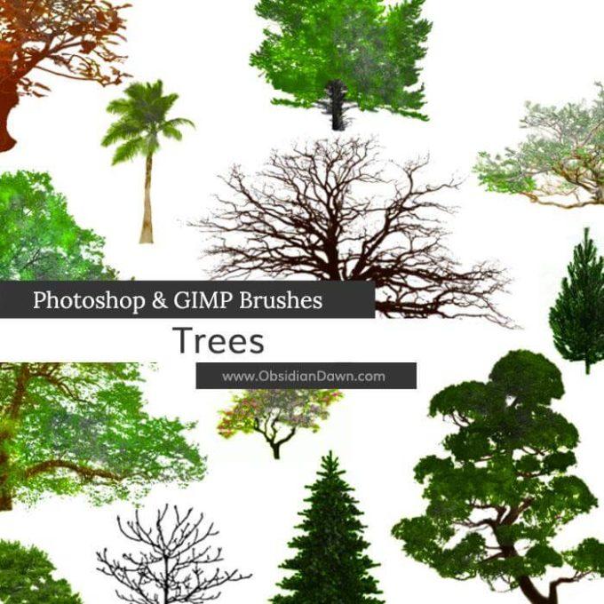 フォトショップ ブラシ 無料 木 森 Trees Photoshop and GIMP Brushes