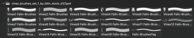 フォトショップ ブラシ 無料 木 ぶどうの木 Vines Brushes Set 1