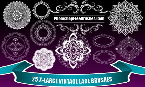 フォトショップ ブラシ Photoshop Retro Vintage Brush 無料 イラスト ヴィンテージ レトロ レース Vintage Lace PS Brushes