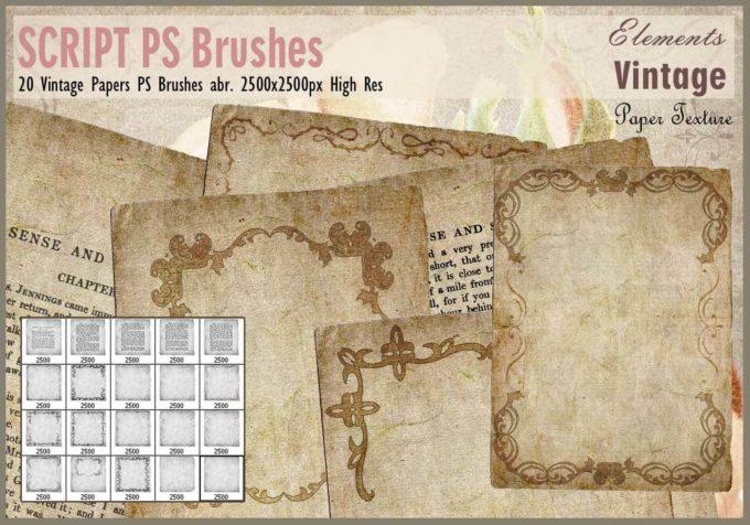 フォトショップ ブラシ Photoshop Vintage  Retro Brush 無料 イラスト ビンテージ レトロ Vintage Papers PS Brushesabr