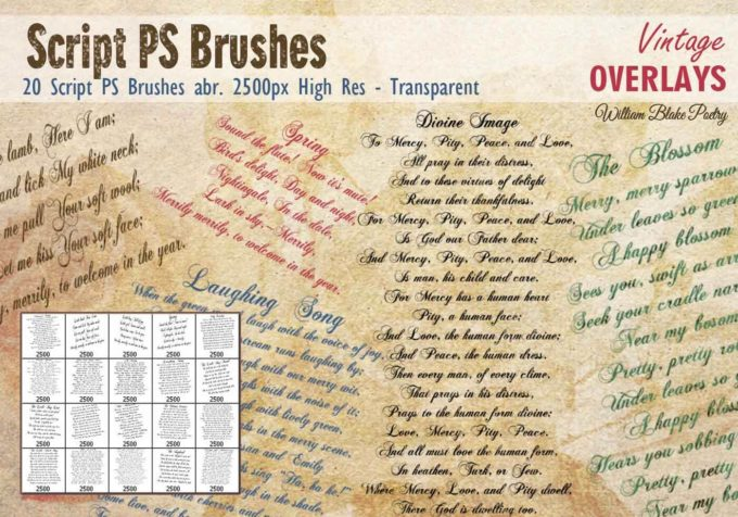 フォトショップ ブラシ Photoshop Vintage  Retro Brush 無料 イラスト ビンテージ レトロ Vintage Script PS Brushes