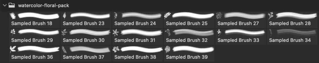 フォトショップ ブラシ Photoshop Brush 無料 Flower イラスト 花 フラワー Dream Watercolor Floral Brushes