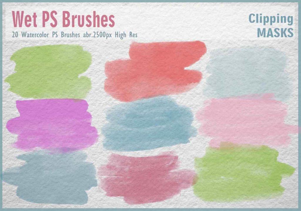 フォトショップ ブラシ Photoshop Brush 無料 イラスト 水彩 インク ペンキ 絵具 Watercolor Mask PS Brushes Abr.
