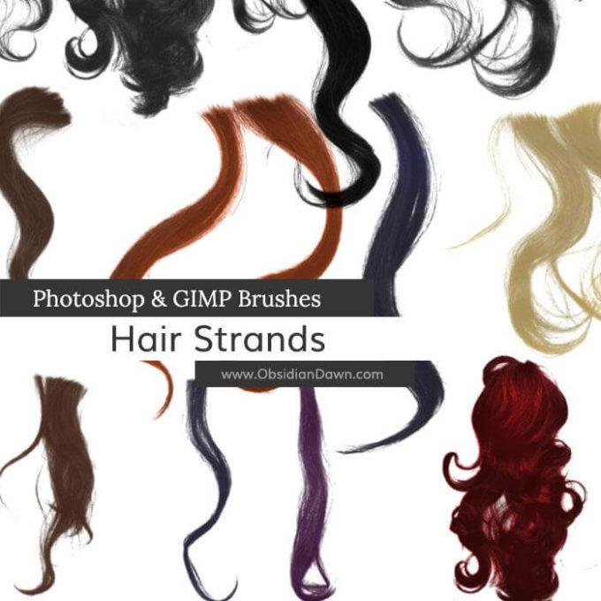 フォトショップ ブラシ 無料 毛 髪の毛 Wavy Hair Strands Photoshop and GIMP Brushes