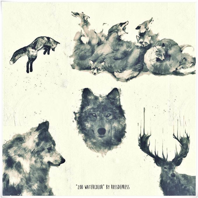 フォトショップ ブラシ Photoshop Animal Brush 無料 イラスト 動物 アニマル シルエット Watercolor Animals PS Brushes