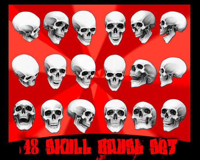 フォトショップ ブラシ Photoshop Skeleton Brush 無料 イラスト スカル 骸骨 ガイコツ スケルトン 18 skull brushes