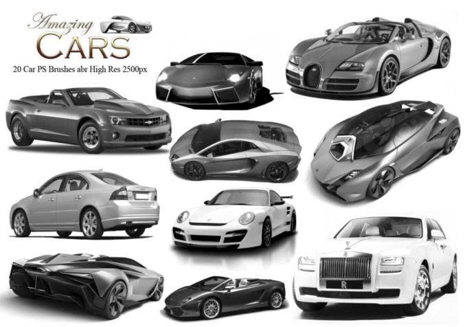 フォトショップ ブラシ Photoshop Car Brush 無料 イラスト 車 カー 20 Amazing Cars PS Brushes