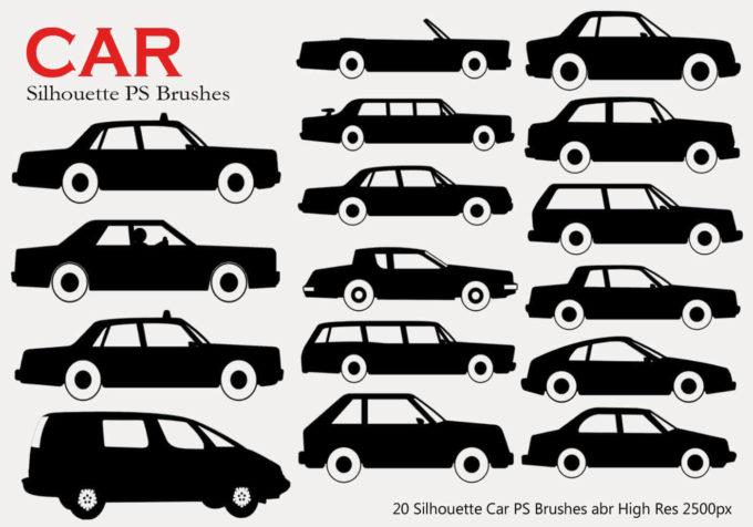 フォトショップ ブラシ Photoshop Car Brush 無料 イラスト 車 カー 20 Car Silhouette PS Brushes